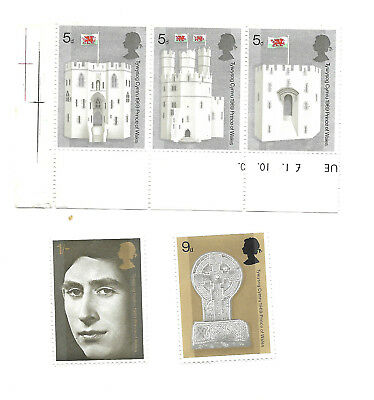 GB 1969 sg802-806 Prince Of Wales Investiture Castles Abbey Celtic Cross set MNH