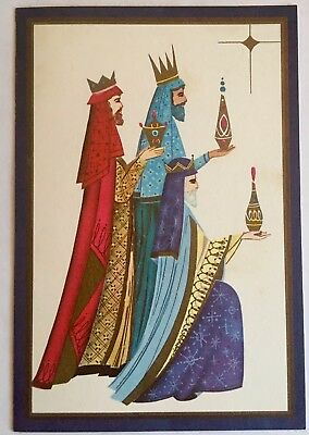 Mid Century Vintage Christmas Card 3 Kings Gifts Nativity Mod 60s