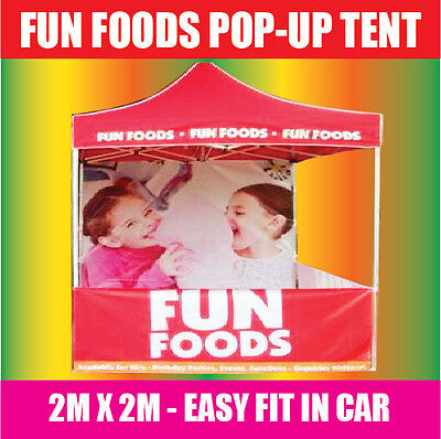 FUN FOOD TENT Marquee Gazebo POPUP 2x2m RED SNO CONE POPCORN FAIRY FLOSS MACHINE