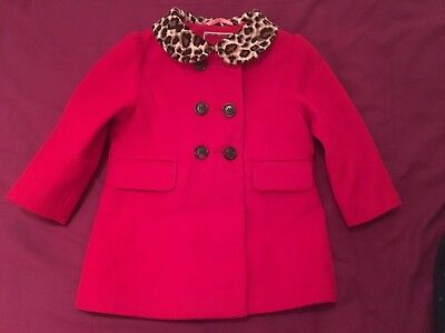 NEXT 12-18 months red smart tailored coat with animal fur print collar