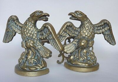 Pair of Handsome 20thC Brass Eagle Andirons / Fire Dogs