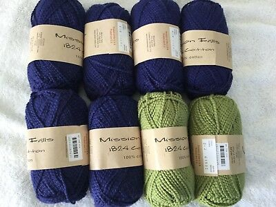Mixed Lot: Mission Falls 1824 Cotton yarn, aran weight, 8 skeins, blue and green