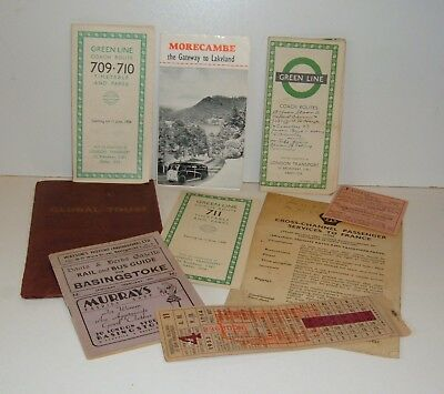 ** JOB LOT VINTAGE 1950s TRAVEL COACH BUS ETC BROCHURES TICKETS ETC **
