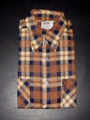 Vintage Deadstock 70's Flannel Shirt Montgomery Ward Fall Colors Size Large NOS