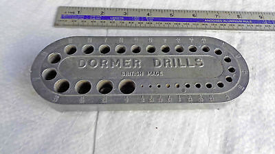 """Vintage DORMER DRILLS Alloy Drill Bit Stand 1/16"""" to 1/2"""" Old Tool"""