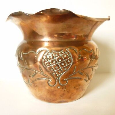 Arts and Crafts Copper Planter Thistle Design.