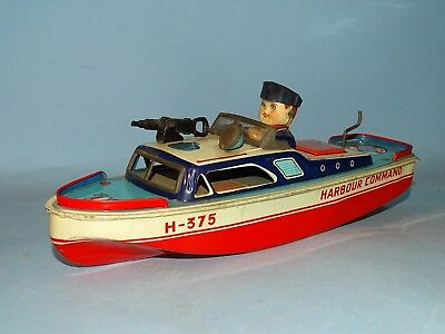 Harbour Command Boat Tin Friction Toy Japan