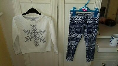 Girls Next Cute Leggings & Jumper Outfit Age 3-4 Years
