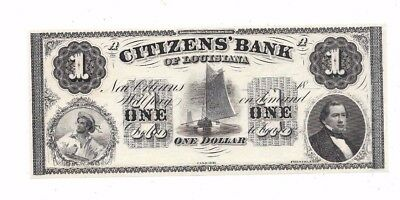 1800's $1 Citizens Bank Of Louisiana Civil War Era Obsolete Currency