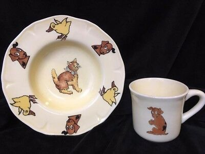 Vintage Roseville Pottery Child's Dish and Cup Puppies Kittens Cats Dogs Ducks