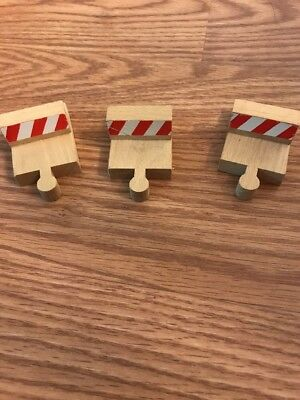 Wooden Train Track Pieces Dead Ends Lot Of 3
