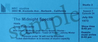 Johnny Winter Midnight Special July,1973 Show Ticket Rare Reproduction 2 Sided