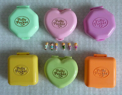 Collection of Six Vintage Polly Pocket Compact Play Sets
