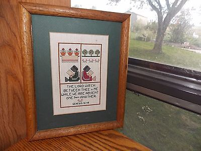 Amish Girls Cross Stitch Sampler Picture COMPLETED Distressed Wood Frame