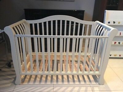 Nursery Furniture Sleigh Cot Bed In Antique White