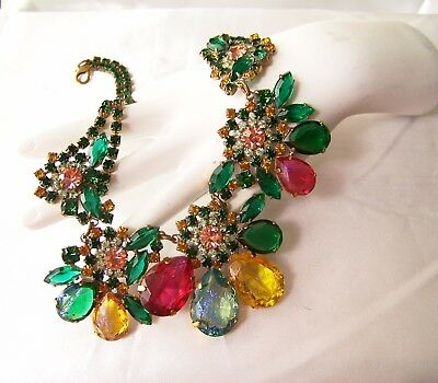 Czech Tropical Fruit Cocktail Rhinestone & Glass Couture Necklace Set by Lilien