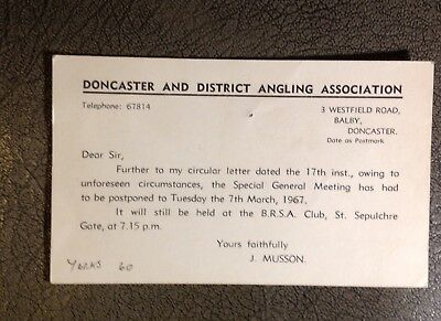 Doncaster Angling Association Postcard Yorkshire