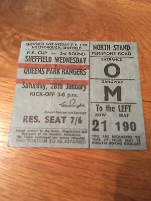 Used Ticket Sheffield Wednesday vs Queens Park Rangers FA Cup 3rd round 1967