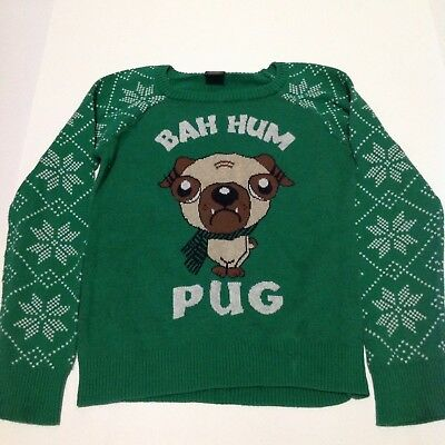 "LOL Vintage Youth Size M (7-8) 100% Cotton ""Bah Hum Pug"" Green Christmas Sweater"