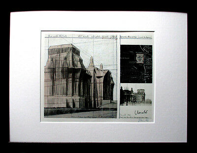 CHRISTO >Wrapped Reichstag< HAND-SIGNIERT, 26x21, Foto-Multiple, Rahmen, Berlin