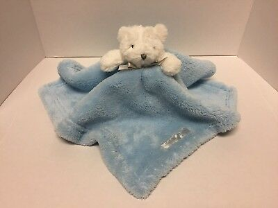 Blankets and Beyond Lovey Security Blanket White Bear Blue Blanket VGC