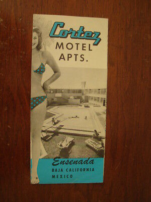 Old Vintage Cortez Motel Apts Photo Brochure Baja California Ensenada Mexico