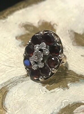 Antique Ladies 10k Yellow Gold Mine Cut Rose Cut Diamond Garnet Cocktail Ring