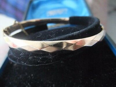 VINTAGE 9ct. 1/5th ROLLED GOLD NARROW FACETED BANGLE