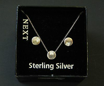 NEXT Sterling Silver White Stone Pendant Necklace & Matching Earrings