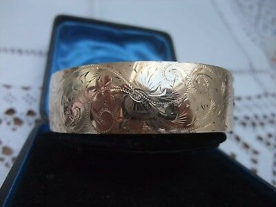 VINTAGE 9ct. 1/5th ROLLED GOLD ENGRAVED BANGLE - Thick Heavy Bangle
