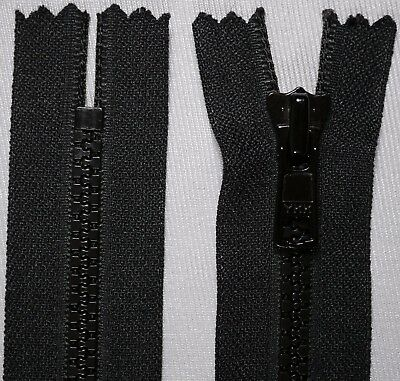 "6"" black YKK VISLON No.3 chunky heavy duty CLOSED END ended auto lock zips"