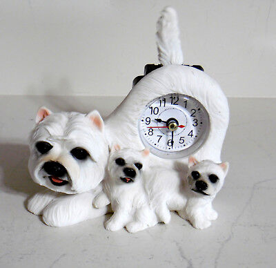 Westie Mom And Puppy Clock Figurine