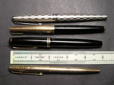 Parker 65 , Parker Victory , Gold Tone Fountain Pens & Biro Four In Total