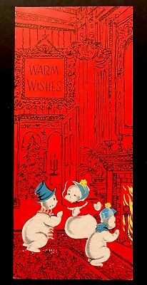 Vintage Christmas Card MCM Anthropomorphic Snowman By Fireplace Flocked