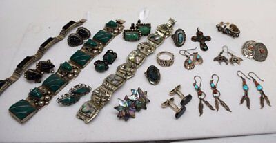 20 pc lot native american MEXICAN TAXCO JEWELRY  BRACELET CROSS RINGS STERLING