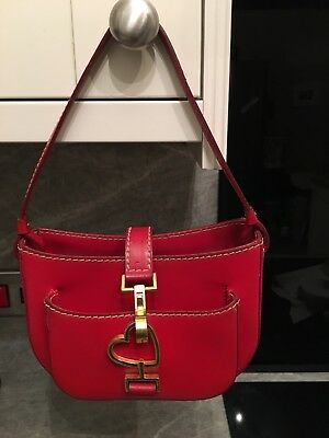 Moschino Vintage Red Leather Bag With Gold Heart Hardware. Very Rare!!!