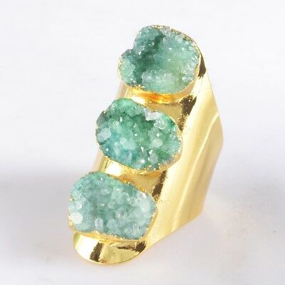 Defective Scratched Size 7.5 Green Agate Druzy Geode Ring Gold Plated T047598