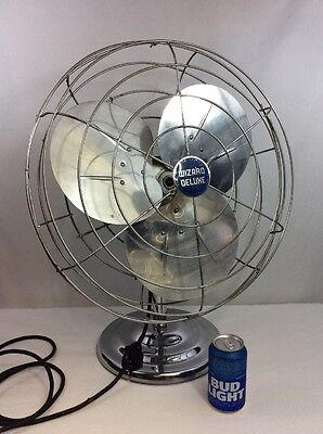 "VTG Electric Metal Fan 20"" Wizard Deluxe J2412 Works Clean Industrial Steampunk"