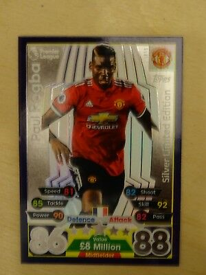Topps Match Attax 2017/18 SILVER Limited Edition PAUL POGBA LE1S