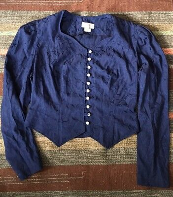 Vintage Navy Victorian Blouse Size S - M Retro 80s New Wave Goth Glam Halloween