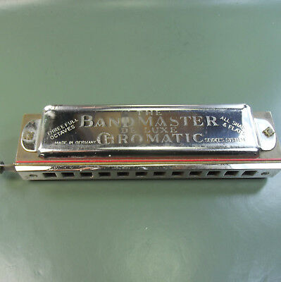 Vintage 'The BANDMASTER DELUXE CHROMATIC' Harmonica Made in Germany