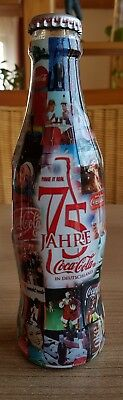 nice coca cola glass bottle from Germany. 75 years. Full perfect condition