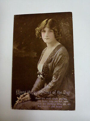 Gladys Cooper. Many Happy Returns Postcard. Vintage. 1919. Used.