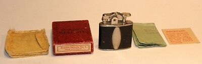 1930's art deco leather ronson standard automatic pocket lighter in box + extras