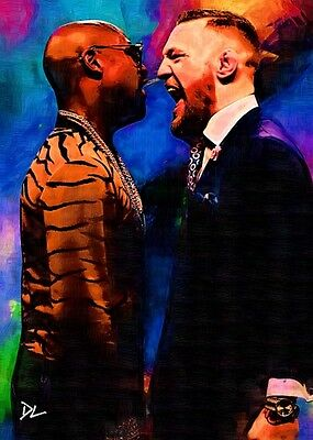 Conor McGregor vs Floyd Mayweather Sketch Card *Artist Signed* Rare Serial 3/5