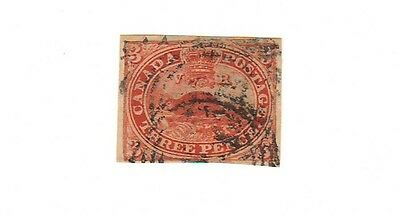 Canada #4 iv 3d Orange Red Beaver on thin oily paper, VF Used, Cat. Value $350