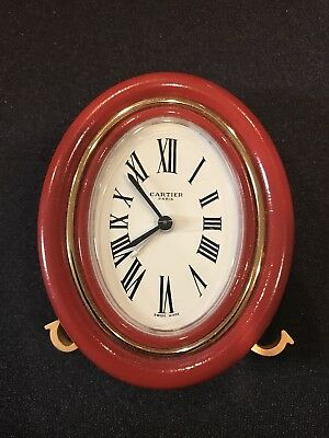Les Must De Cartier -Red winding Oval Travel Clock box & papers, Model Baignoire