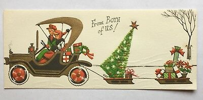Mid Century Christmas Card~Old Model Car Pulling Sleds In Snow~Young Couple~Gold