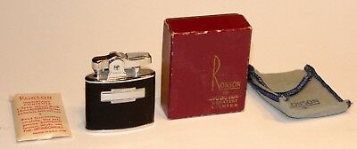 unused 1950's leather ronson standard automatic pocket lighter in box + extras