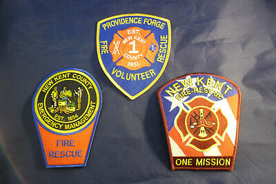 New Kent Virginia Fire Department Patches; New, Never Sewn On; Lot of 3